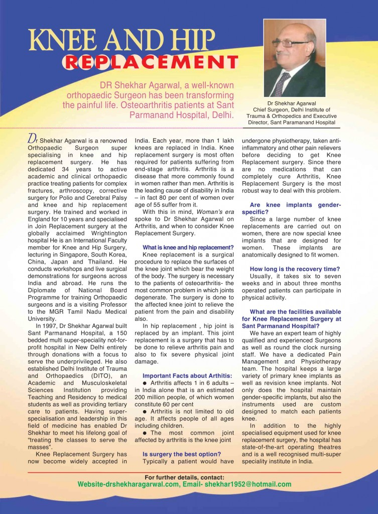 Article of Dr. Shekhar Agarwal in woman;s ERA Magzine on Jan-2014