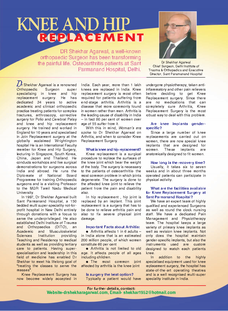 Article of Dr. Shekhar Agarwal in woman's ERA Magzine on Jan-2014